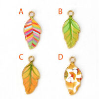 10Pcs Exquisite Alloy Enamel Leaves Charms Pendants DIY Jewelry Making Accessory