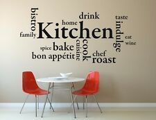 Kitchen Words Wall Art Sticker Quote Decal Vinyl Transfer