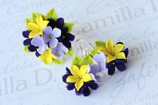 Flower Ring & EARRINGS SET jewelry HANDCRAFTED Fashion polymer clay HANDMADE