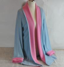 """William Lockie 38"""" 100% Cashmere Edge to Edge Coat in Cielo/Capri Pink/Blue"""