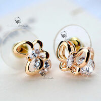 18k gold gf made with Swarovski crystal butterfly stud earrings 925 silver
