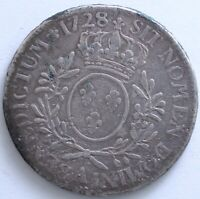 FRANCE LOUIS XV ECU AUX BRANCHES D'OLIVIER 1728 A