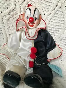 "VINTAGE USED W/ TAG A DYNASTY DOLL SITTING CLOWN PORCELAIN 16"" 1983 BLACK WHITE"