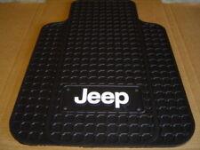 Jeep Logo Front Floor Mats in Black Pair CJ YJ TJ LJ Rubber Floor Mat