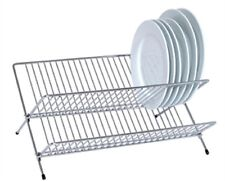 New Chrome Wire Foldable 2 Tier Dish Drainer Kitchen Storage Rack Stand Holder
