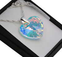 925 Sterling Silver Necklace *CRYSTAL AB* 10-28mm Heart Crystals from Swarovski®