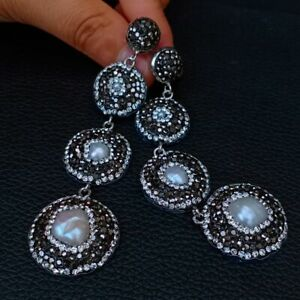 White Baroque freshwater pearl Keshi Pearl Black Macarsite Dangle Stud Earrings
