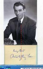 More details for sir christopher lee vintage signed page, aftal#145
