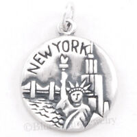Sterling Silver NEW YORK Charm BIG APPLE Pendant Travel NYC skyline 2 sides 925