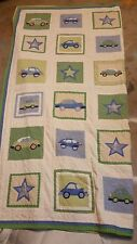 """Pottery Barn Kids """"Cars"""" Full Quilt 87 X 88 & 2 Pillow Shams"""