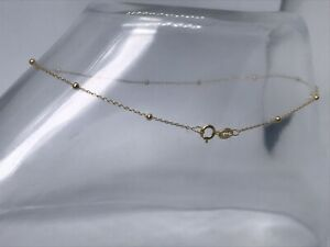 """Genuine 9ct Gold Fine Ball Bead Charm Anklet 10"""" Brand New"""