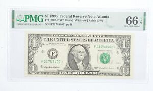STAR NOTE - PMG Graded 66EPQ $1 1995 FR1922-F* FRN - Error Replacement *002