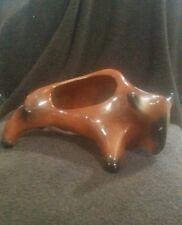 Mid Century Bull Tobacco Holder Pipe Rest Ashtray Brown Retro Animal Ceramic Vtg