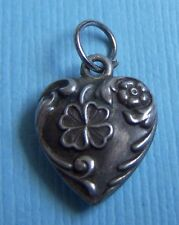 Vintage mini puffy heart with flower and clover sterling charm