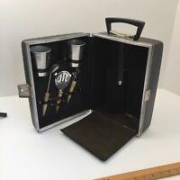 Vintage Mid Century Travel Bar Portable Booze Case Hard Side No Key or Shotglass