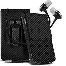 Carbon Fibre Belt Pouch Holster Case & Handsfree For Blackberry Q20 Classic