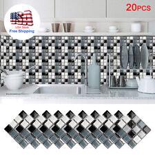 20Pcs Self Adhesive Mosaic Brick Tile 3D Sticker Kitchen Bathroom Wall Stickers