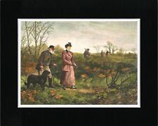 SHOOTING LADY AND MAN FLAT COATED RETRIEVER VINTAGE STYLE DOG ART PRINT MATTED