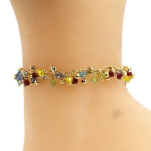 """18k Layered real gold filled anklet bracelet with colors stones 10"""""""