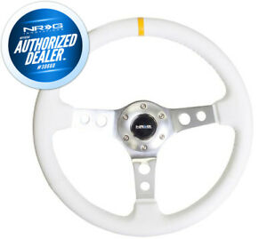 New NRG White Leather Reinforced Steering Wheel w Yellow Center Mark RST-006WT-Y
