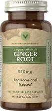Ginger Root - Natural Whole Herb - 550mg - 100 Rapid Release Capsules