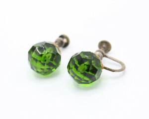 Vintage 1940s Gold Tone and Green Crystal Screw Back Earrings