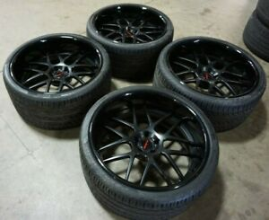 """22"""" 5x115 Lexani 3pc Forged Black Wheels Rims Tires Charger Challenger Widebody"""