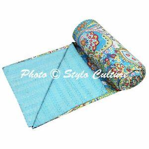 Indian Vintage Kantha Bedding Bedspread Quilt Coverlet Blanket Reversible Throw