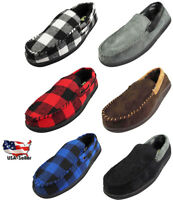 Norty Mens Moccasin Slip On Loafer Slipper Indoor/Outdoor Sole - 6 Colors