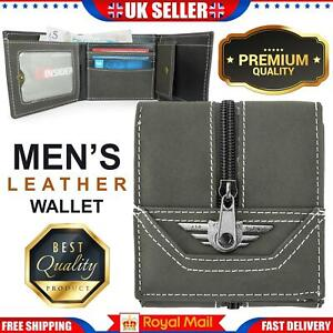 Mens Wallets with Zipper Coin Pocket Genuine Leather Zip Coin Purse Gift Wallet