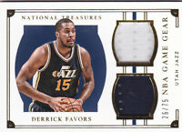 2015-16 National Treasures NBA Game Gear Duals #38 Derrick Favors Jersey #/75