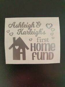 Personalised First Home Fund Sticker/Label for Savings Money Box/Jar Gift 1st