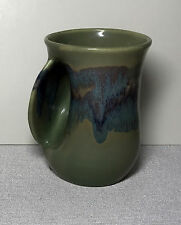 NEHER Clay In Motion Pottery HAND WARMER MUG Left handed signed 14 oz MINT
