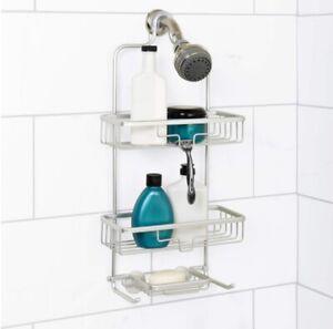 3 Tier Bathroom Shower Caddy Aluminium Hanging Rack Shampoo Storage Shelf Silver