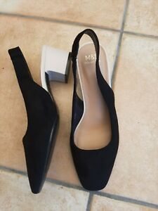 M&S Insolia Slingback Sandals Size 5 Black and White