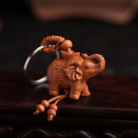 KE_ KF_ Lucky Elephant Carving Wooden Pendant Keychain Key Chain Ring Evil Def