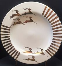 "Laurie Gates Stoneware 11.5"" platter ceramic plate Gold Reindeer Holiday 1999"
