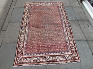Shabby Chic Worn Vintage Hand Made Traditional Pink Red Wool Large Rug 192x122cm
