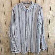 Calvin Klein Men's Button Down Shirt Size XL Shades of Gray and White Striped