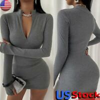 Women Knit Long Sleeve Bodycon Mini Dress Ladies Zipper V Neck Party Club Dress