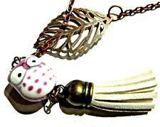 sweater chain bird Kitsch kawaii C2 Purple White Owl Tassel Necklace copper leaf