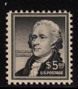 1956 Alexander Hamilton Sc 1053 MH DG $5.00 black, single stamp CV $47.50 (F
