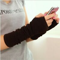 Women Cute Protection Arm Warmer Long Fingerless Stretchy Gloves Sleeves Mittens