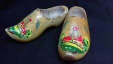 Vintage Hand Carved Hand Painted Wooden Clogs Decoration Windmill Holland