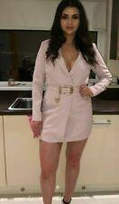 Peace & Love Baby Pink Belted Bodycon Mini Wrap Blazer Tuxedo Dress Jacket 8 36