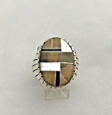 Sterling Silver .925 Mens Navajo Ray Jack Tigers Eye Onyx Pearl Oval RING Sz 11