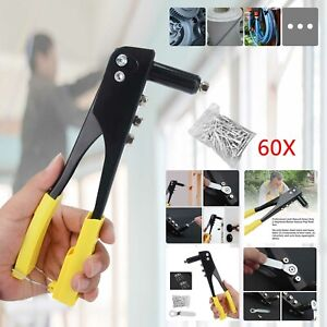 New Pop Rivet Gun With 60 Rivets 4 Heads Pvc Handle And Safety Catch
