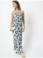 Ladies Bnwt Blue High Neck Leopard Print Maxi Dress Size 14