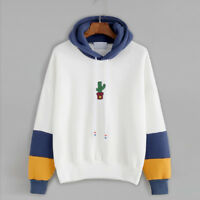 Women Casual Cactus Print Hoodie Sweatshirt Hooded Pullover Tops Blouse Coat