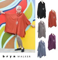 BRYN WALKER Soft Cashmere Blend  COWL PONCHO Boxy Sweater Top S M L XL  5 COLORS
